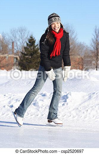 Winter fun - ice skating - csp2520697