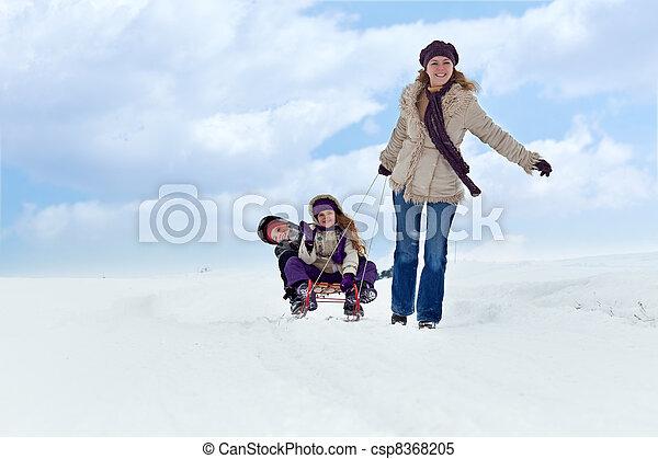 Winter fun on a sleigh - csp8368205