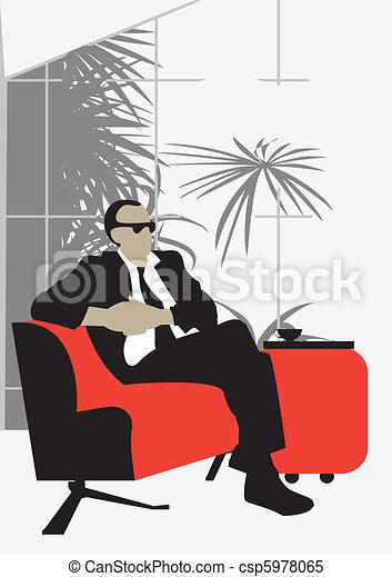 winter garden solid man sitting   comfortable red sofa