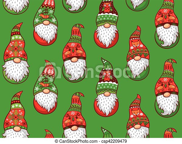 Christmas Gnomes Pictures.Winter Gnomes Seamless Pattern