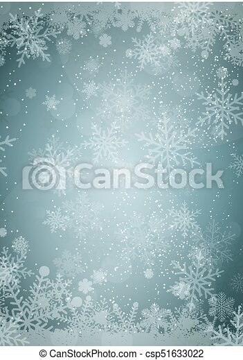 Winter golden Christmas background with Winter snowflake border with snow paper background border - csp51633022