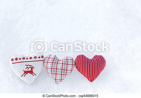 Winter, hirsch, kreuz, drei, snow., norwegisch, 3, styled, herzen ...