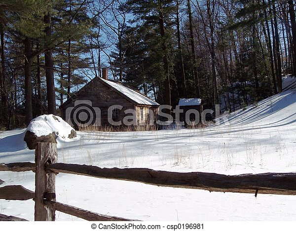 En casa en invierno. - csp0196981