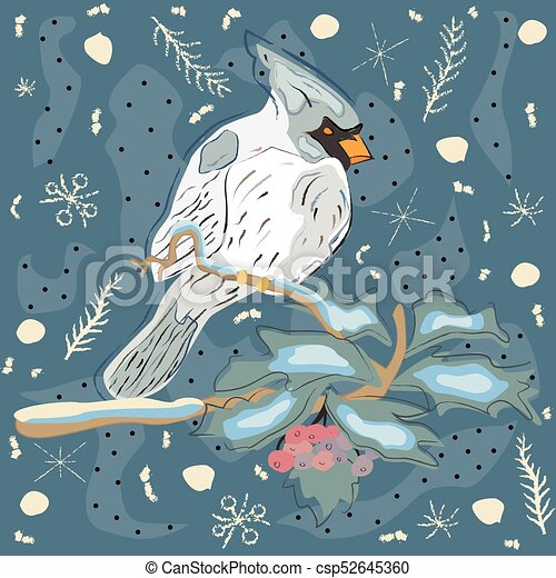 Winter Holiday Greeting Card with Cute Hand Drawn Cardinal Bird on the Rowan Tree. Pastel Blue Background - csp52645360