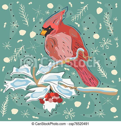 Winter Holiday Greeting Card with Cute Hand Drawn Cardinal Bird on the Rowan Tree. Pastel Blue Background - csp76520491