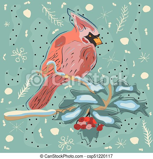 Winter Holiday Greeting Card with Cute Hand Drawn Cardinal Bird on the Rowan Tree. Pastel Blue Background - csp51220117
