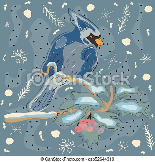 Winter holiday greeting card with cute hand drawn cardinal bird on winter holiday greeting card with cute hand drawn cardinal bird on the rowan tree pastel blue background with spruce branches and snowflakes m4hsunfo