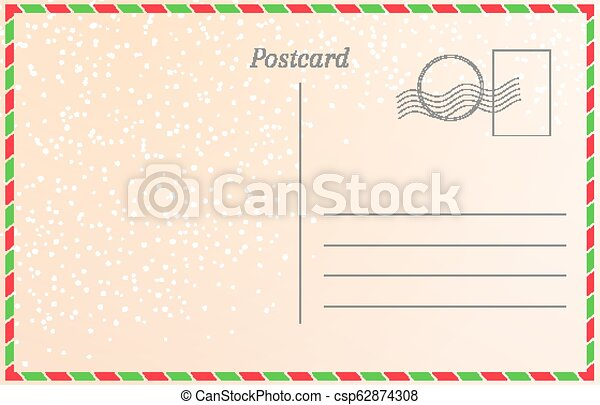 Winter holiday postcard with snowfall. New year greeting card template. - csp62874308