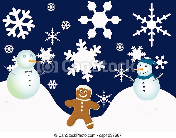 Winter Holiday Scene Snowflakes And Snowmen With