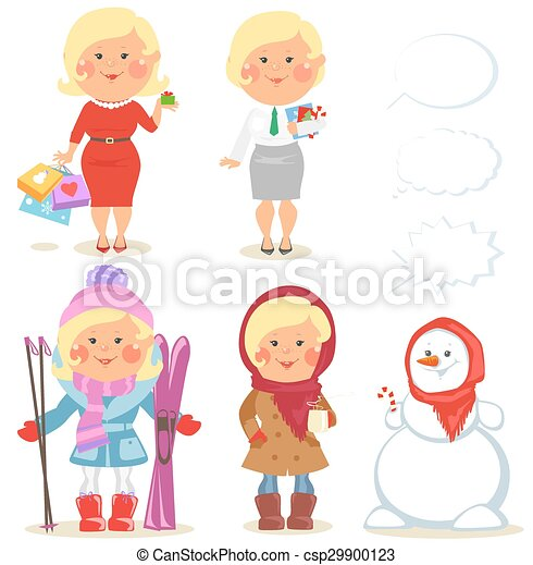 Winter holidays set of cartoon women - csp29900123