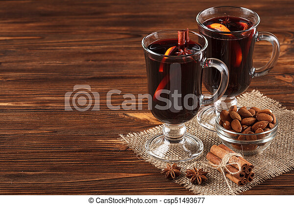 Winter Horizontal Mulled Wine Banner Glasses With Hot Red Wine And Spices On Wooden Background Vinous Concept For Winter