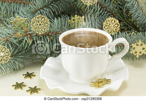 Coffee Christmas Ornaments.Winter Hot Coffee Time