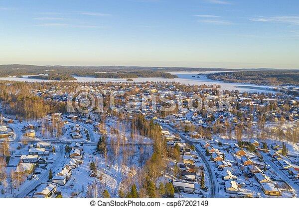 Winter in Smedjebacken drone photo - csp67202149