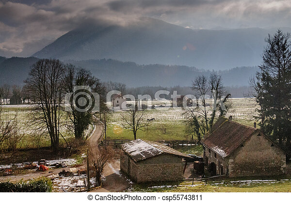 Winter in the Savoy Area in Southern France. - csp55743811
