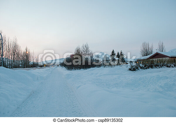 winter in town of Akureyri in Iceland - csp89135302