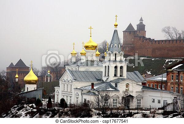 Winter january view of Church Elijah the Prophet and Kremlin Nizhny Novgorod Russia - csp17677541