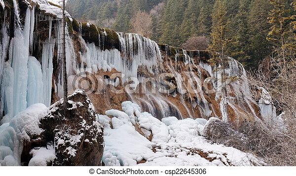Winter Jiuzhaigou Pearl Beach Waterfall - csp22645306