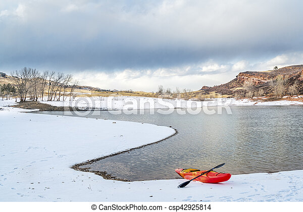 winter kayaking in Colorado - csp42925814