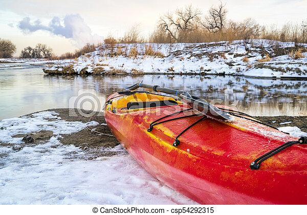 winter kayaking in Colorado - csp54292315