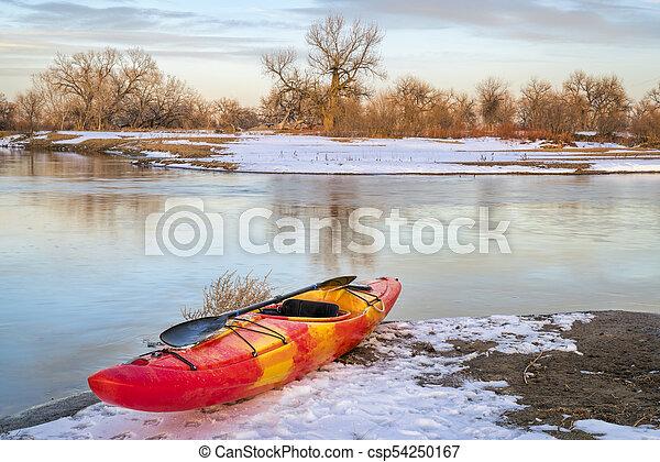 winter kayaking in Colorado - csp54250167