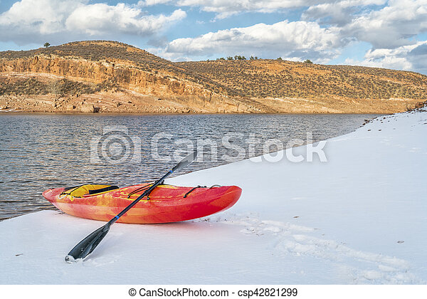 winter kayaking in Colorado - csp42821299