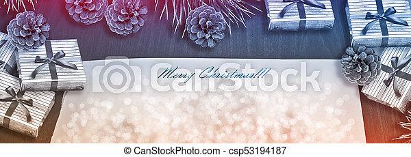 winter, kegel, kiefer, zusammensetzung, hintergrund., bäume, gifts., weihnachten - csp53194187
