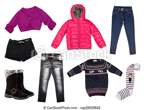 Winter Kid S Clothes Collage Isolated