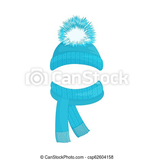 08cdf75c67856 Winter knitted blue hat with a pompom and a scarf with fringe.