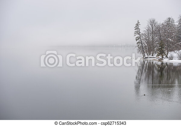 Winter lake covered in fog - csp62715343