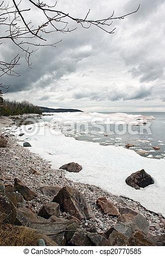 Winter lake landscape - csp20770585
