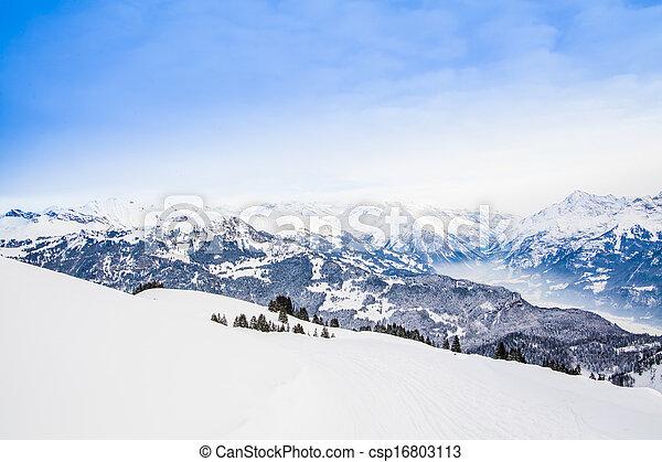Winter landscape.  Alpine Alps mountain landscape - csp16803113