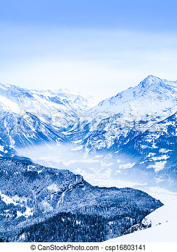 Winter landscape.  Alpine Alps mountain landscape - csp16803141