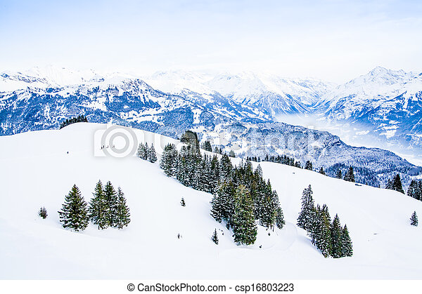 Winter landscape.  Alpine Alps mountain landscape - csp16803223