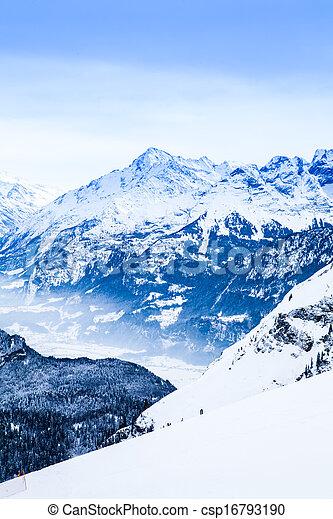 Winter landscape.  Alpine Alps mountain landscape - csp16793190