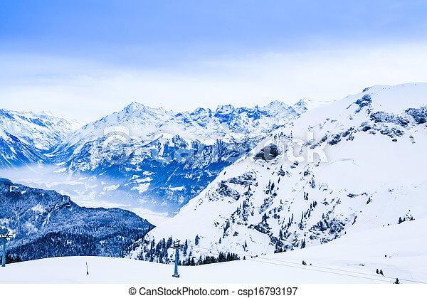 Winter landscape.  Alpine Alps mountain landscape - csp16793197