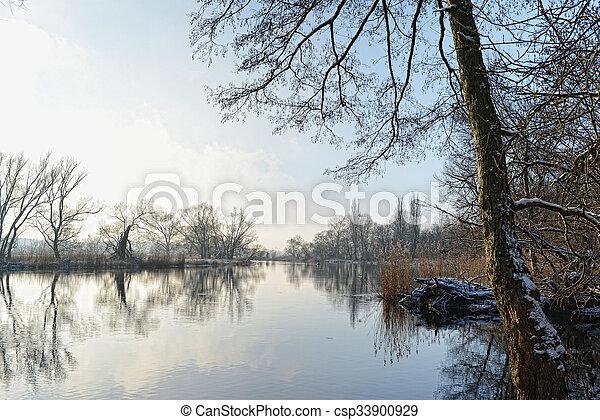 Winter landscape at Havel River. - csp33900929