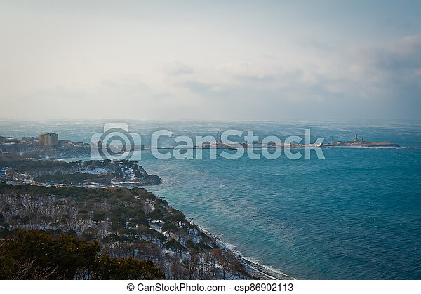 Winter landscape, Black sea - csp86902113