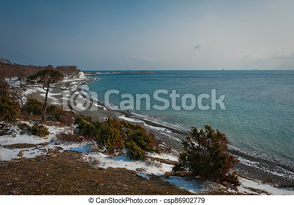 Winter landscape, Black sea - csp86902779