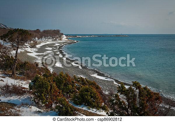 Winter landscape, Black sea - csp86902812