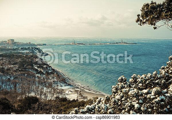 Winter landscape, Black sea - csp86901983