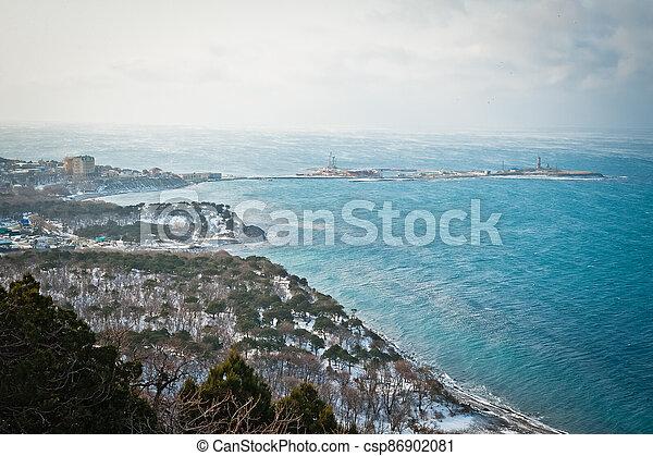 Winter landscape, Black sea - csp86902081