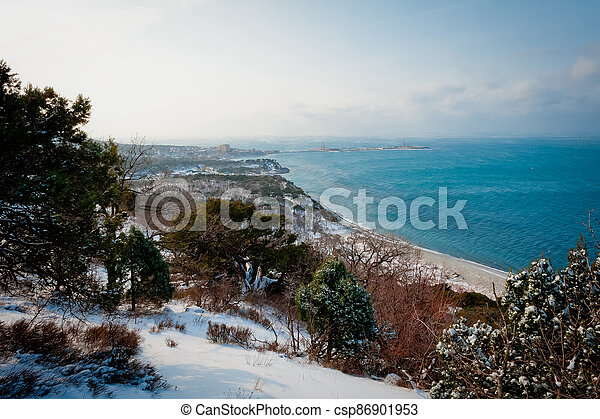 Winter landscape, Black sea - csp86901953