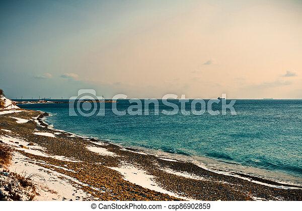 Winter landscape, Black sea - csp86902859