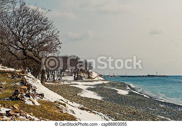Winter landscape, Black sea - csp86903055