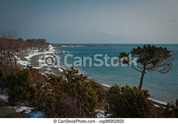 Winter landscape, Black sea - csp86902820