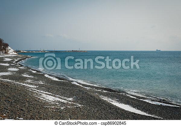Winter landscape, Black sea - csp86902845