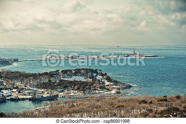 Winter landscape, Black sea - csp86901998