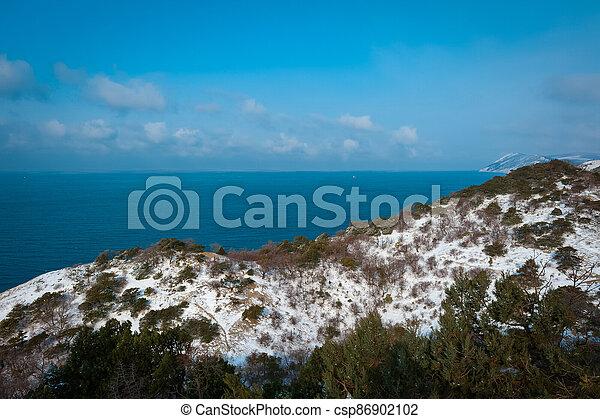 Winter landscape, Black sea - csp86902102