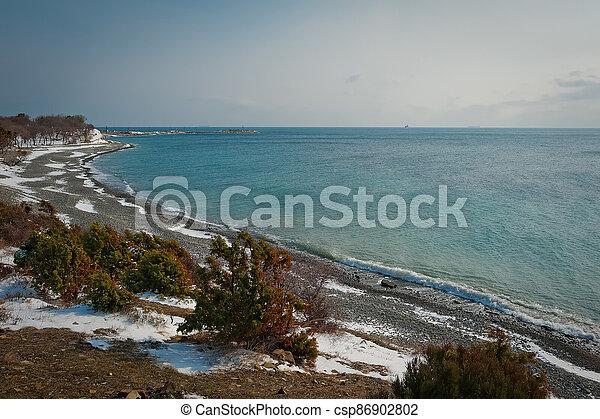 Winter landscape, Black sea - csp86902802