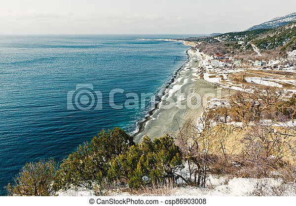 Winter landscape, Black sea - csp86903008